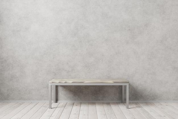 Деревянный стол на светлом фоне дизайна. легкий дизайн интерьера для вашей заготовки. деревянный пол в интерьере лофта. 3d визуализация.
