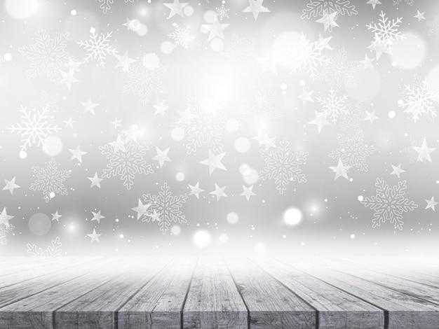 Деревянный стол на рождество снежинки и звезды фон