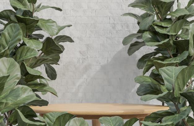 흰색 벽돌 벽에 식물 제품 프리젠 테이션을위한 나무 테이블 연단
