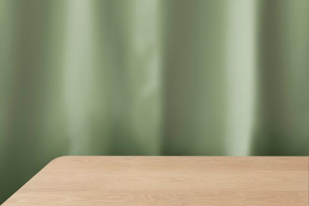 Sfondo del prodotto da tavolo in legno, design della parete verde