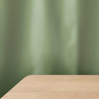 木製のテーブル製品の背景、緑の壁のデザイン