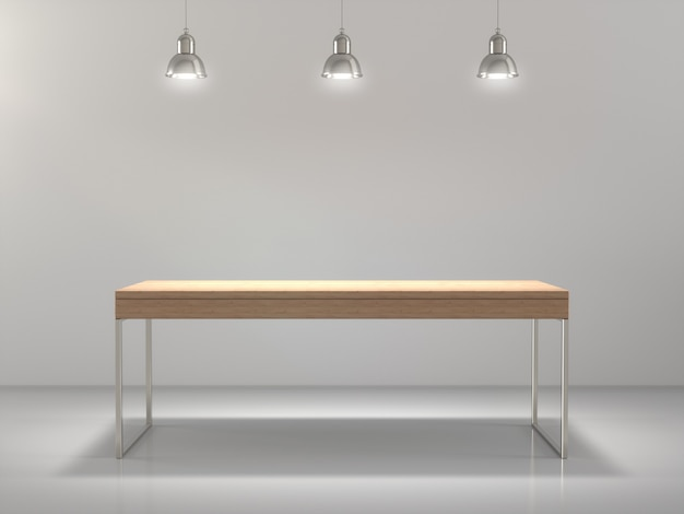 Wooden table for product showing in empty.