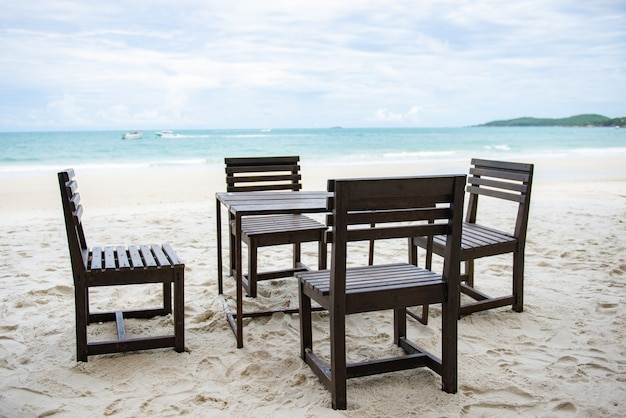 Wooden table for restaurant on the beach
