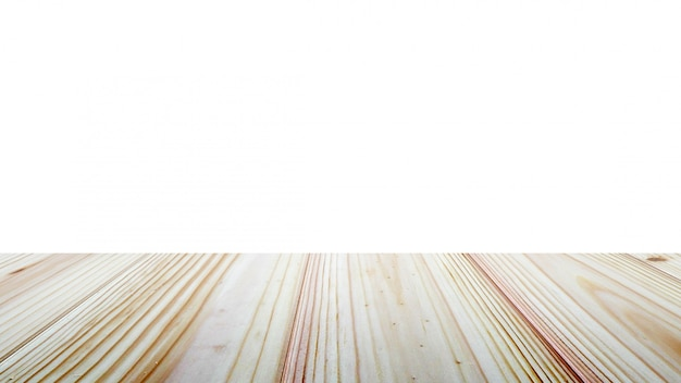 Wooden table top on white background