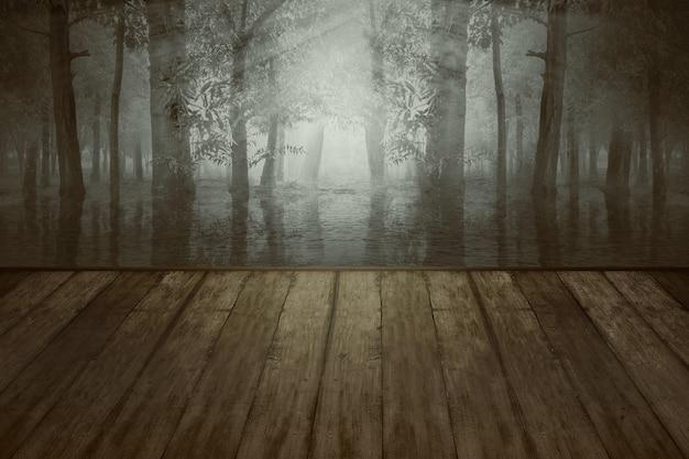 ドラマチックなシーンの背景を持つ森の湖と木製のテーブル。ハロウィーンのコンセプト