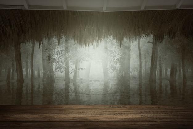 ドラマチックなシーンと森の湖と木製のテーブル