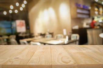 Wooden table with blurred background