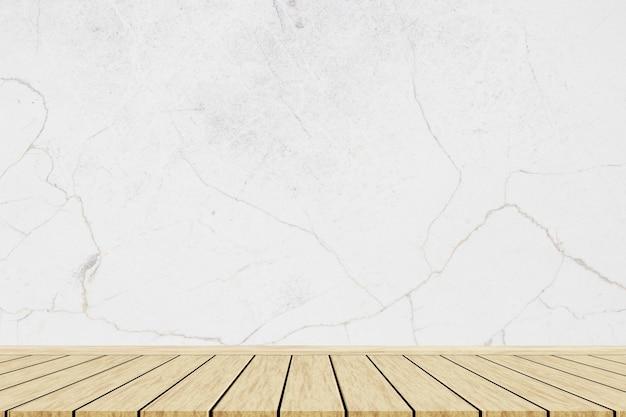 大理石のテクスチャの背景を持つ木製のテーブル