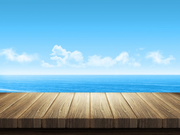 백그라운드에서 바다 풍경과 나무 테이블