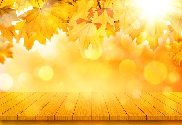 オレンジ色の秋のカエデの葉と木製のテーブル。秋の自然の背景