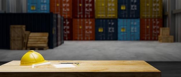 Деревянный стол с защитным шлемом и документами на складе хранения с стопкой контейнеров 3d-рендеринга
