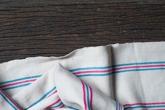 Wooden table with tribal fabric