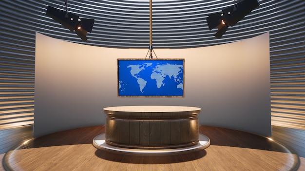 ニューススタジオの3dイラストで木製の背景と緑の画面と木製のテーブル