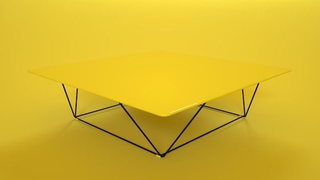 Wooden table on yellow. 3d rendering.