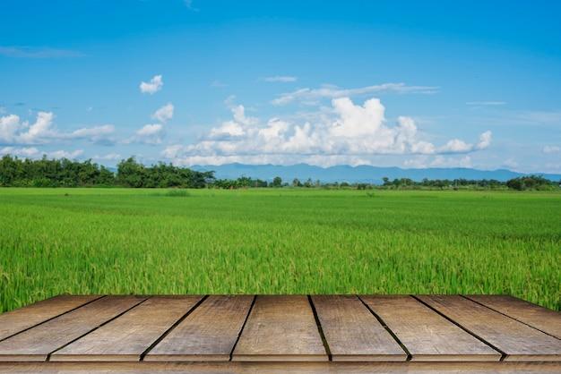 배경에 아름다운 산이 있는 논에서 나무 테이블과 아름다운 화창한 날.