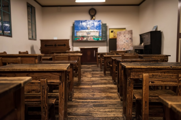 Wooden tables and chairs in classroom