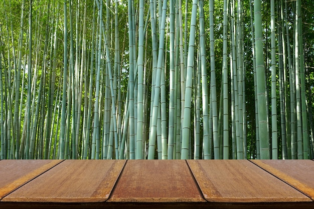 Wooden tabletop next to a bamboo forest