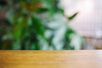 Wooden tabletop on blurred background of plants