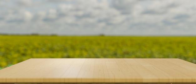 Макет деревянной столешницы или деревянной доски для монтажа на размытом зеленом полевом ландшафте в фоновом режиме
