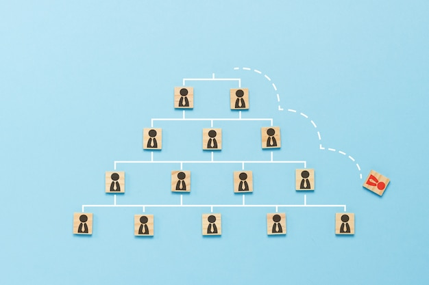 Wooden tablets with icons of people with ties, arranged by a pyramid on blue background with a dotted line showing elevation, career growth, dismissal, replacement by new employee. flat lay, top view.