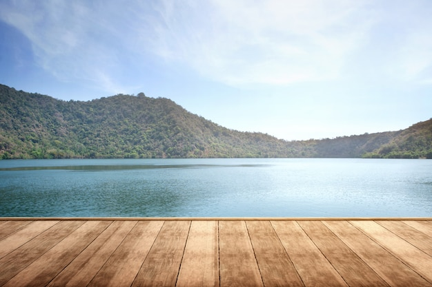 Wooden terrace with lake and mountain view