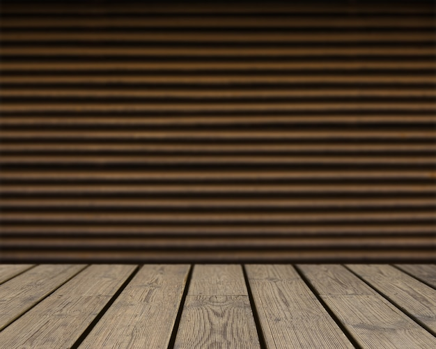 Wooden texture looking out to brown striped wall
