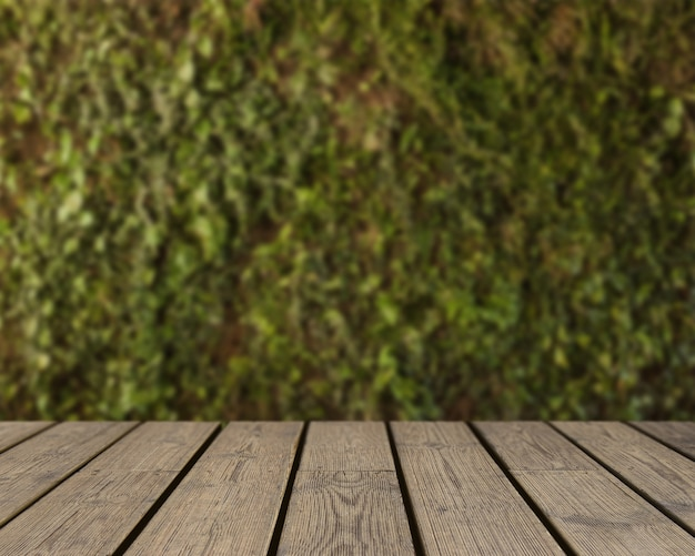 Wooden texture looking out to grass background