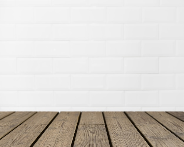 Wooden texture looking out to white brick wall