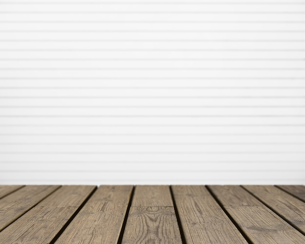 Wooden texture looking out to white striped wall