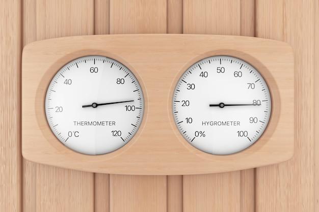 Деревянный термометр и гигрометр для сауны на деревянной стене сауны. 3d рендеринг