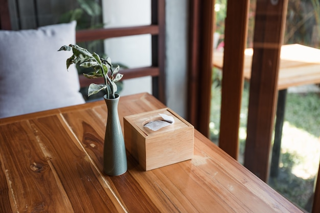 Wooden tissue box with plant in ceramic vase on wood table in living room