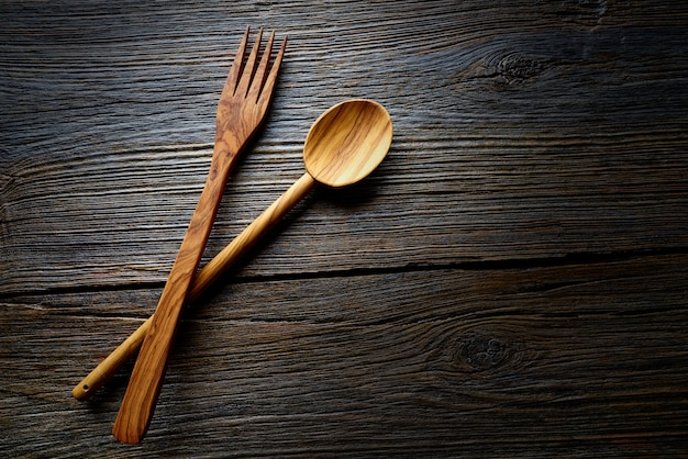 Wooden tools spatules spoon and fork