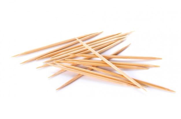Wooden toothpicks on white