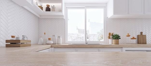 Деревянная столешница на фоне современной кухни
