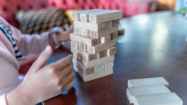 Wooden tower puzzle sticks