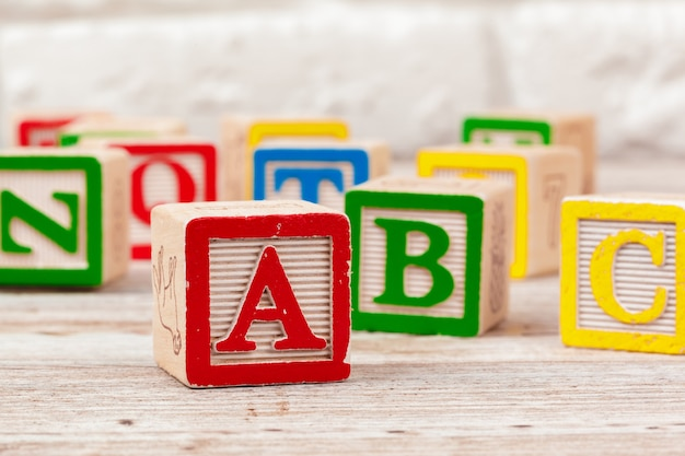 Wooden toy blocks with letters