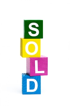 Wooden toy cubes with letters
