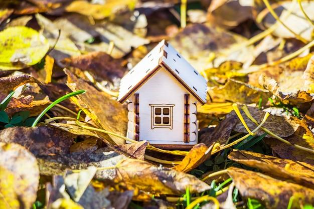 Деревянный игрушечный домик среди зеленой травы.