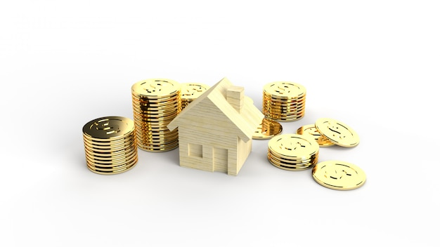 The wooden toy house and gold coins