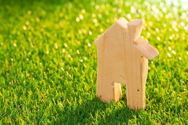 Wooden toy house miniature on grass close up. saving for house concept