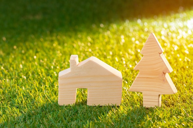 Wooden toy house miniature on grass close up