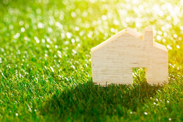 Wooden toy house miniature on grass