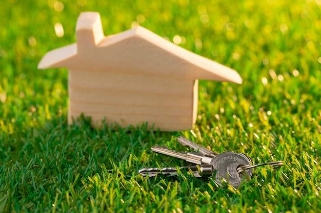 잔디에 나무 장난감 집 미니어처를 닫습니다.