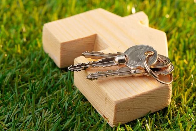 잔디에 나무로되는 장난감 집 미니어처를 닫습니다.