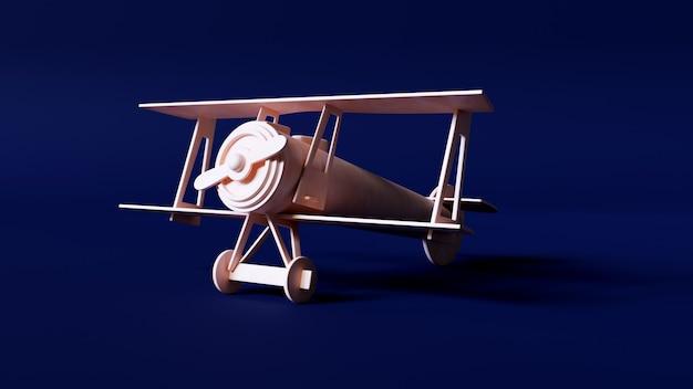青い背景の上の木のおもちゃの飛行機。 3dレンダリング。