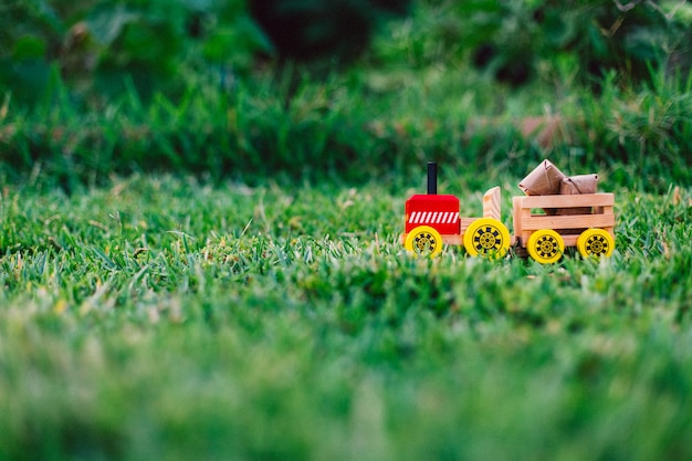 Wooden toy truck transporting packages through the lawn or nature