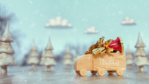 Wooden toy truck truck bell on top. merry christmas. 3d render and illustration.