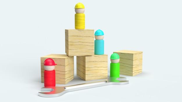 Деревянные игрушки на белой предпосылке, перевод 3d для содержания дня трудаа