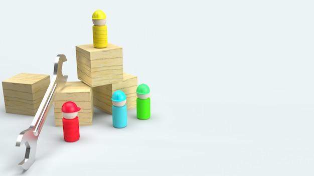 Деревянные игрушки на белом фоне, 3d-рендеринг