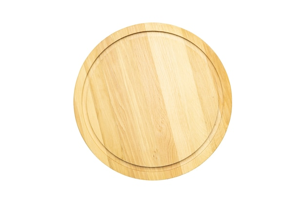 Wooden tray cutting board isolated on white background mock up